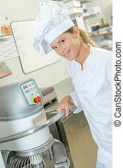 kock, holdingen, handtag, av, industriell, maskin