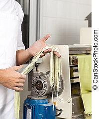 kock, holdingen, spagetti, pasta, av, maskin