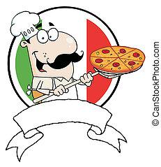 kock, infogar, pepperoni pizza