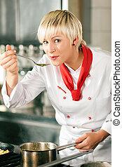 kock, kök, avsmakning, kvinnlig, restaurang