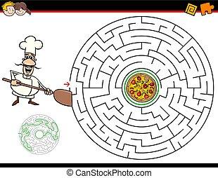 kock, labyrint, lek, tecknad film, pizza