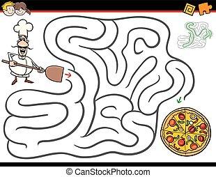 kock, labyrint, pizza, tecknad film, aktivitet