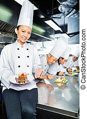 kock, matlagning, asiat, kök, restaurang