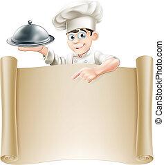 kock, meny, baner