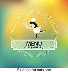 kock, meny, design, hållande bricka