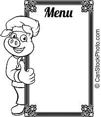 kock, meny, tecken, tecknad film, gris