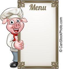kock, meny, tecknad film, gris