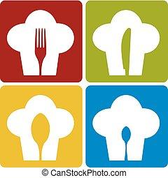 kock, sätta, pattern., ikon, restaurang