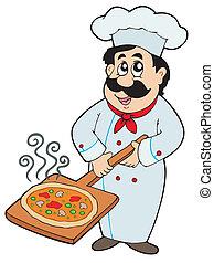 kock, tallrik, hållande pizza