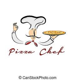 kock, tecknad film, illustration, pizza