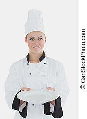 kock, tom, tallrik, visande, likformig, kvinna