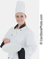 kock, tom, tallrik, visande, likformig, kvinna, ung