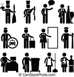 kock, uppassare, chaufför, bellman, hovmästare