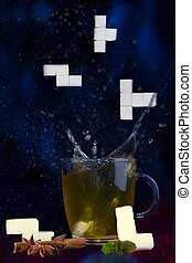 kockacukrok, tea, esés, splash., plop., tetris, shapes.
