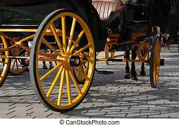 kocsi, sárga, gördít