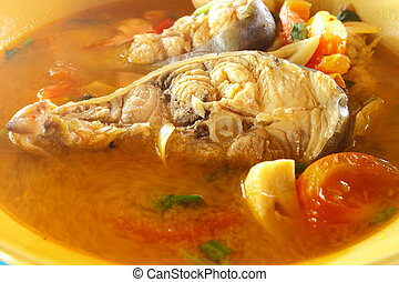 """Kod"" fish with Thai's spicy in hot soup"
