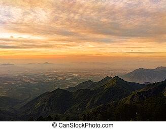 Kodaikanal Landscape at sunrise, India