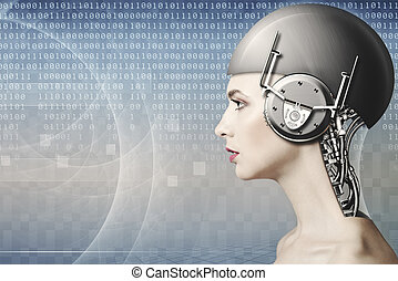 kodeks, komputer, tło, zmodyfikowany, ludzki, samica, portret, strona