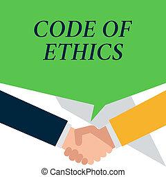 kodeks, ludzie, fotografia, mieć, potrząsanie, pisanie, inny, podstawowy, konceptualny, ethics., obowiązki, handlowy, pokaz, zachowanie, ręka, hands., powitać, rozmowa, imposes, każdy, showcasing, profesjonalny, przewodnik