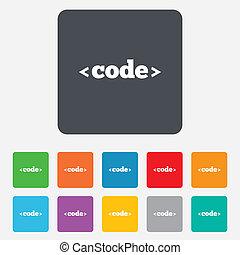 kodeks, znak, icon., zaprogramowujący język, symbol.