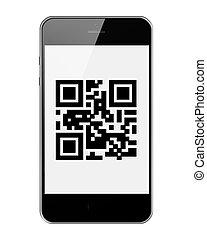 kodex, ringa, mobil, isolerat, bakgrund., qr, vit, smart