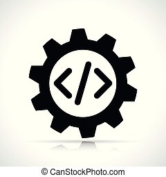 kodierung, ikone, weiß, hintergrund