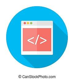 kodowanie, płaski, koło, ikona, z, długi, cień