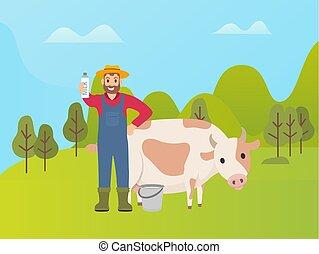 koe, emmer, het voorstellen, farmer, verse melk