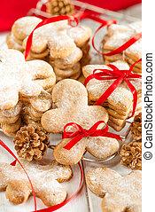 koekje, lint, peperkoek, vastknopen, kerstmis, rood, man