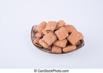 koekje, of, koekjes, gevulde, met, chocolade, room, op, een, achtergrond.