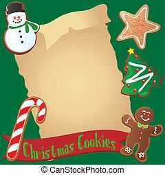 koekje, of, recept, kerstmis, uitnodiging