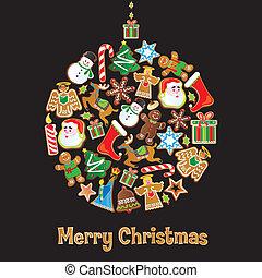 koekje, ornament, kerstmis