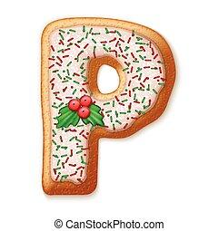 koekjes, alphabet., illustration., vector, peperkoek, kerstmis