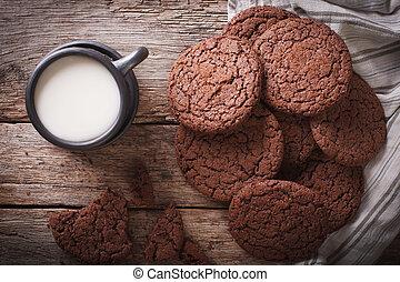 koekjes, bovenzijde, gember, chocolade, close-up., horizontaal, melk, aanzicht