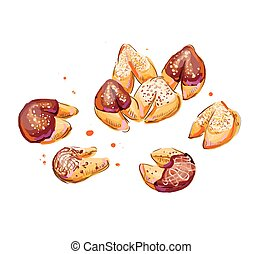 koekjes, fortuin, illustratie