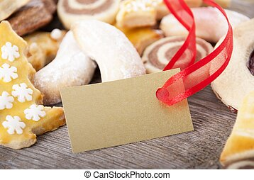 koekjes, met, gouden, etiket