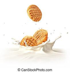 koekjes, twee, splashing., het vallen, koekjes, melk