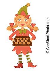 koekjes, volle, hoedje, houden, elf, puntzak, meisje, blad