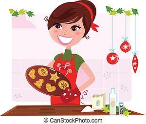koekjes, vrouw, het bereiden, kerstmis
