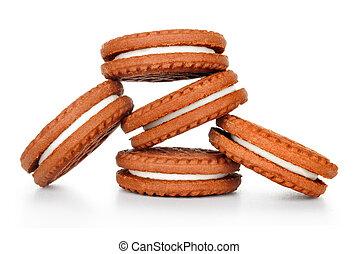 koekjes, witte , frites, vrijstaand, chocolade