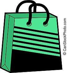 koel, groene, winkel, zak, illustratie