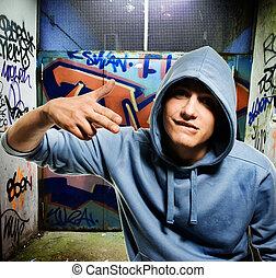 koel, het kijken, hooligan, in, een, graffiti, geverfde,...