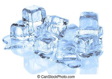 koel, ijs kubeert, smeltende, op, een, reflecterend,...