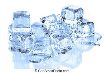 koel, ijs kubeert, smeltende, op, een, witte , reflecterend,...