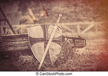 koel, metalen, zwaard, en, zware, schild, op, de, middeleeuwen, wagon, achtergrond