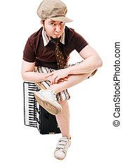koel, musicus, met, concertina