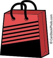 koel, rood, winkel, zak, illustratie