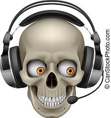 koel, schedel, met, headphones