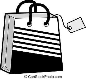 koel, winkel, zak, illustratie
