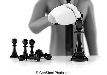 koenig, begriff, geschaeftswelt, figur, armee, strategie, pfänder, wenige, bewegen, schach, hinten, geschäftsmann, mann, 3d